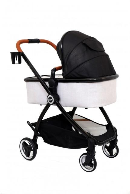 עגלה משולבת MOM דגם ZOE צבע ריפוד שחור שילוב אפור