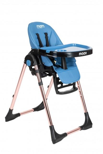 """כסא אוכל """"moom"""" רוז גולד כחול"""