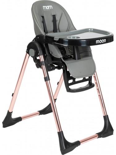 """כסא אוכל MOM """"moon"""" רוז גולד אפור"""